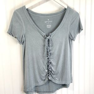 American Eagle Soft & Sexy Lace Up T Shirt Top XS
